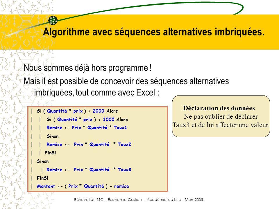 Algorithme avec séquences alternatives imbriquées.