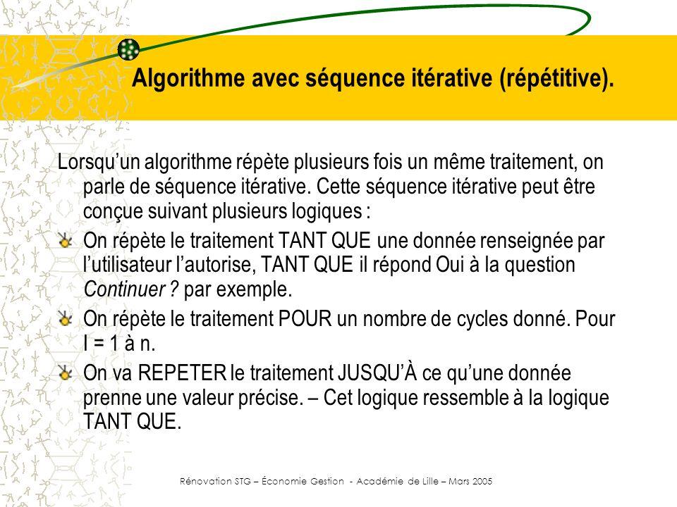 Algorithme avec séquence itérative (répétitive).