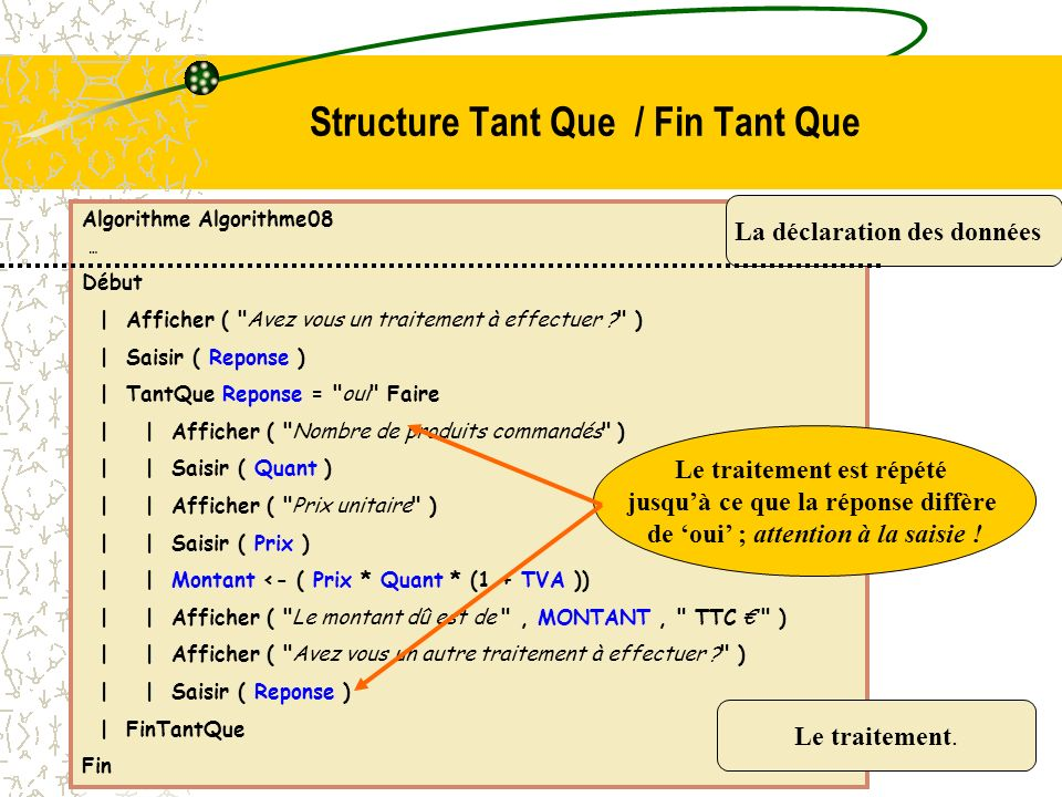 Structure Tant Que / Fin Tant Que