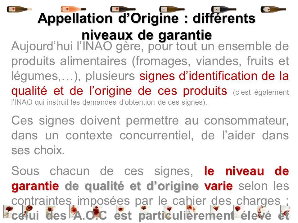 Appellation d'Origine : différents niveaux de garantie