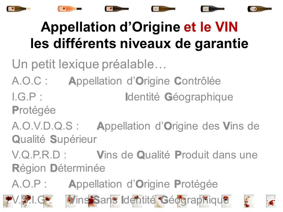 Appellation d'Origine et le VIN les différents niveaux de garantie