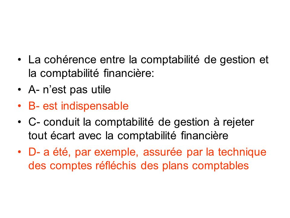 La cohérence entre la comptabilité de gestion et la comptabilité financière: