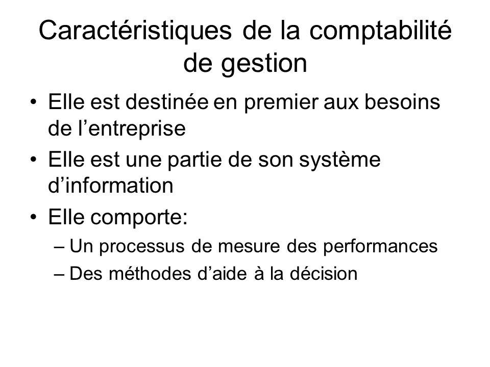 Caractéristiques de la comptabilité de gestion