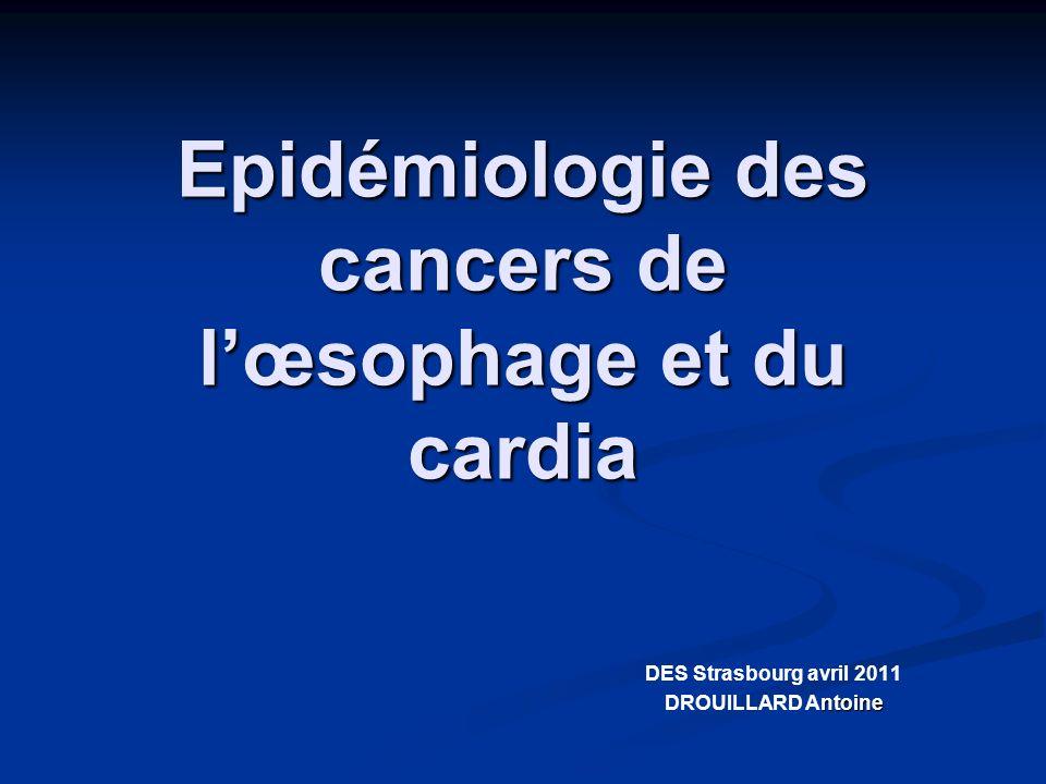 Epidémiologie des cancers de l'œsophage et du cardia