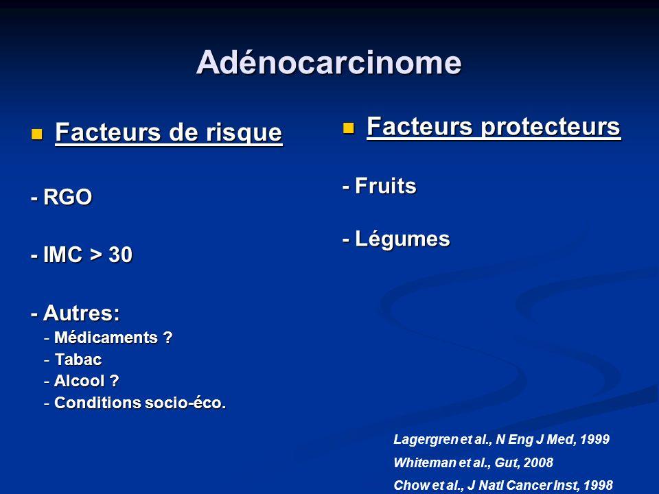 Adénocarcinome Facteurs protecteurs Facteurs de risque - Fruits - RGO