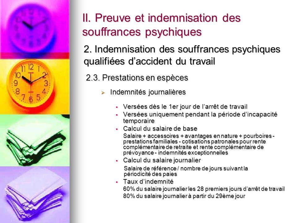 II. Preuve et indemnisation des souffrances psychiques