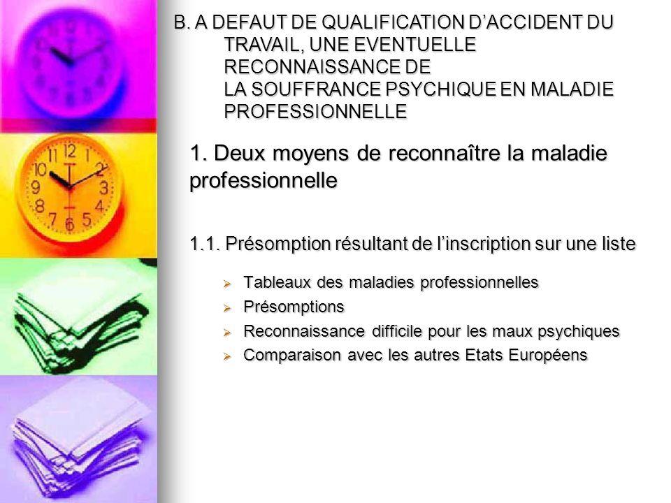 1. Deux moyens de reconnaître la maladie professionnelle