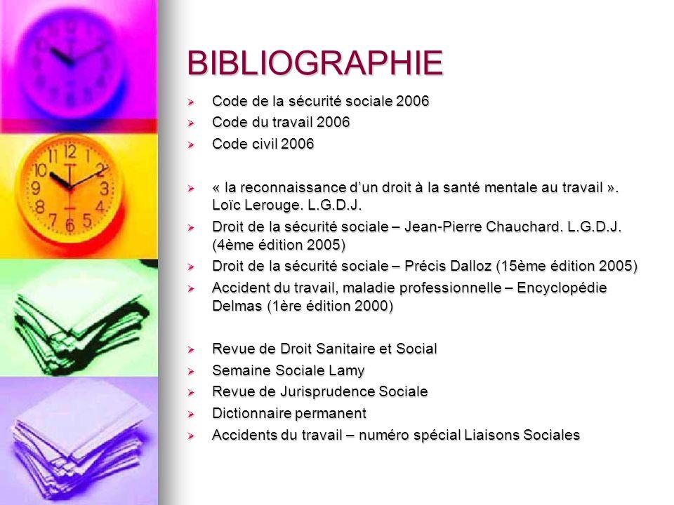 BIBLIOGRAPHIE Code de la sécurité sociale 2006 Code du travail 2006