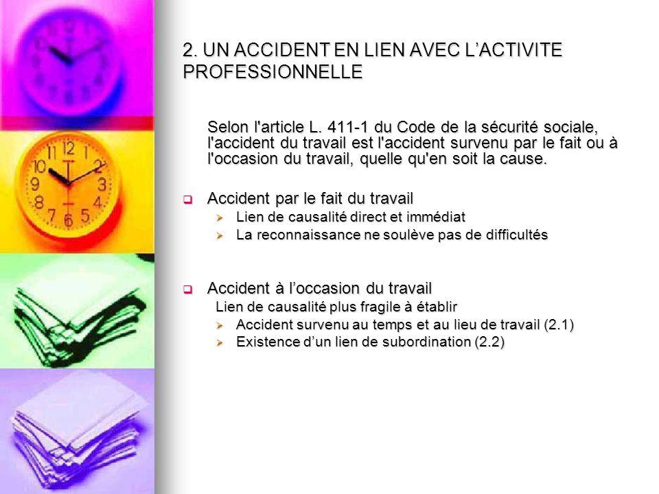 2. UN ACCIDENT EN LIEN AVEC L'ACTIVITE PROFESSIONNELLE