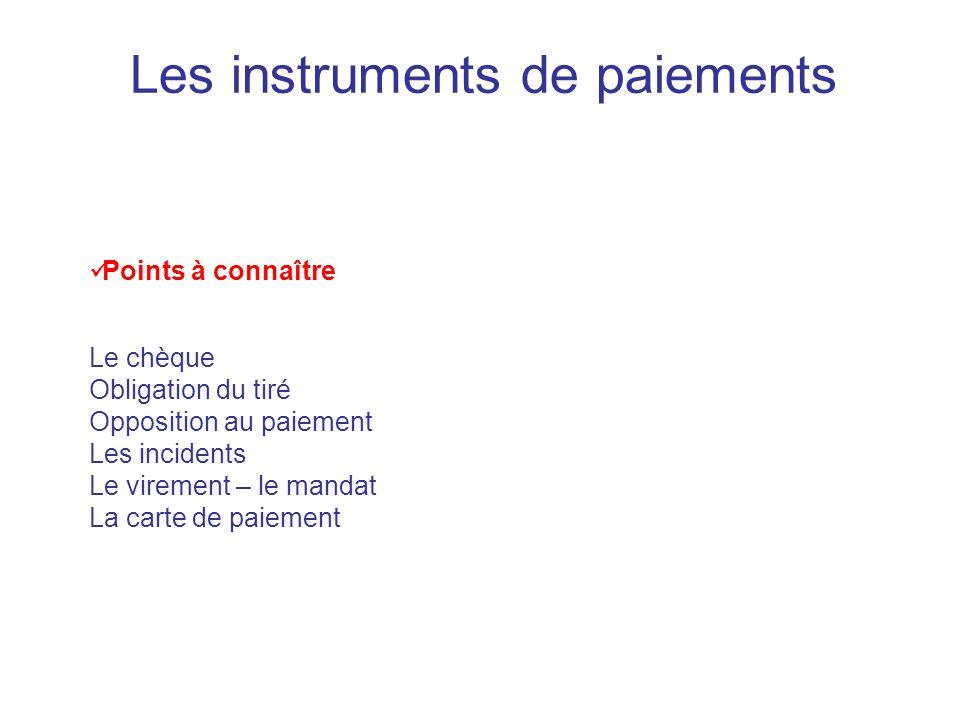 Les instruments de paiements