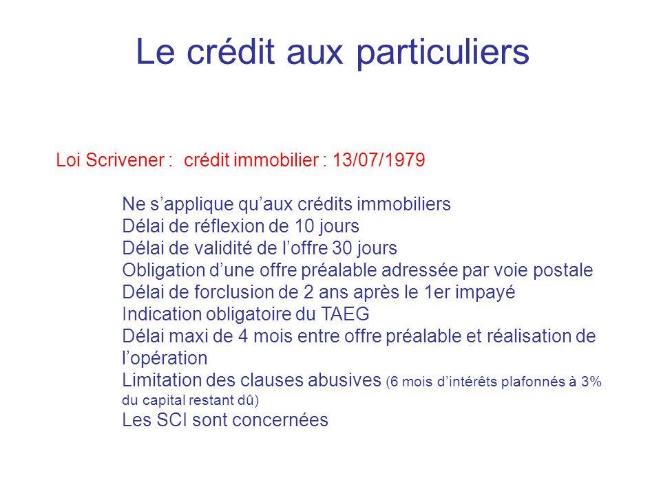 Le crédit aux particuliers