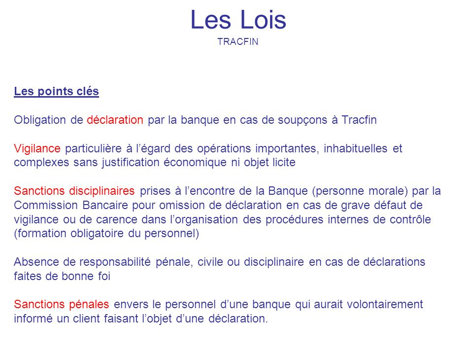 Les Lois TRACFIN.