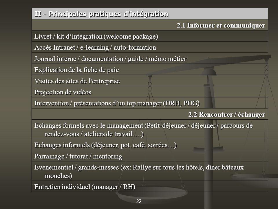 II - Principales pratiques d intégration 2.1 Informer et communiquer