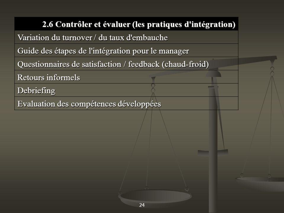 2.6 Contrôler et évaluer (les pratiques d intégration)