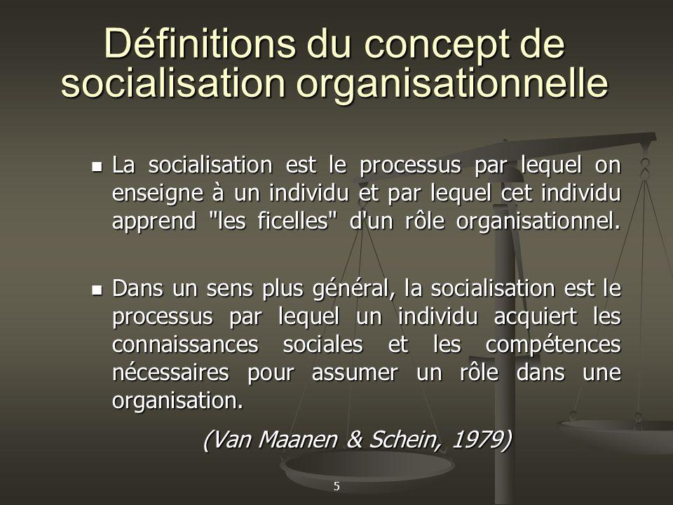 Définitions du concept de socialisation organisationnelle