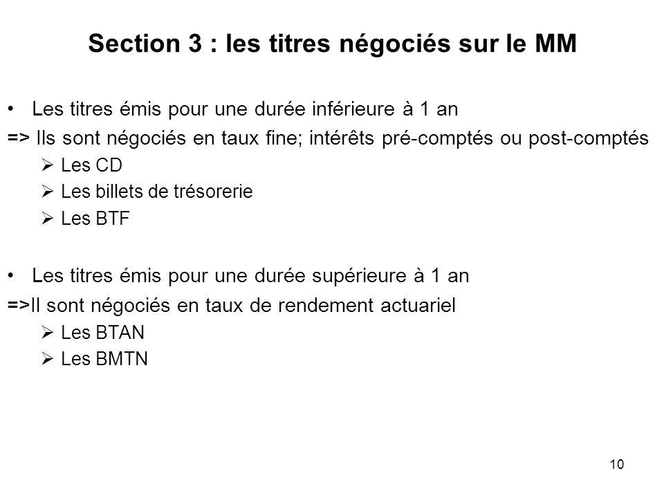 Section 3 : les titres négociés sur le MM