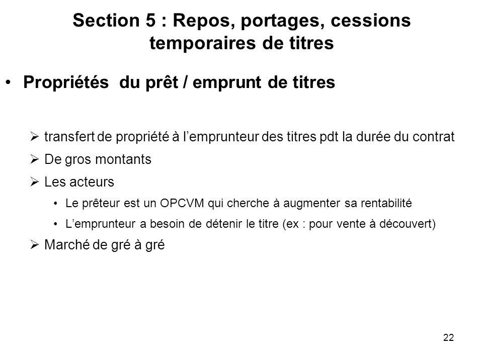 Section 5 : Repos, portages, cessions temporaires de titres