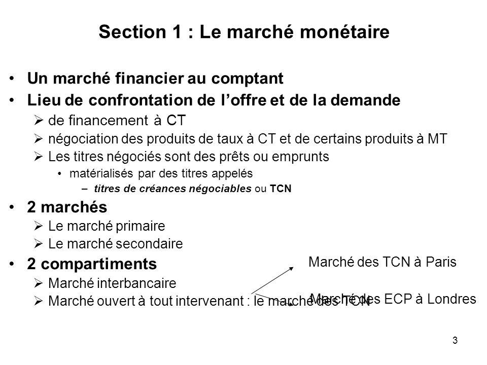 Section 1 : Le marché monétaire