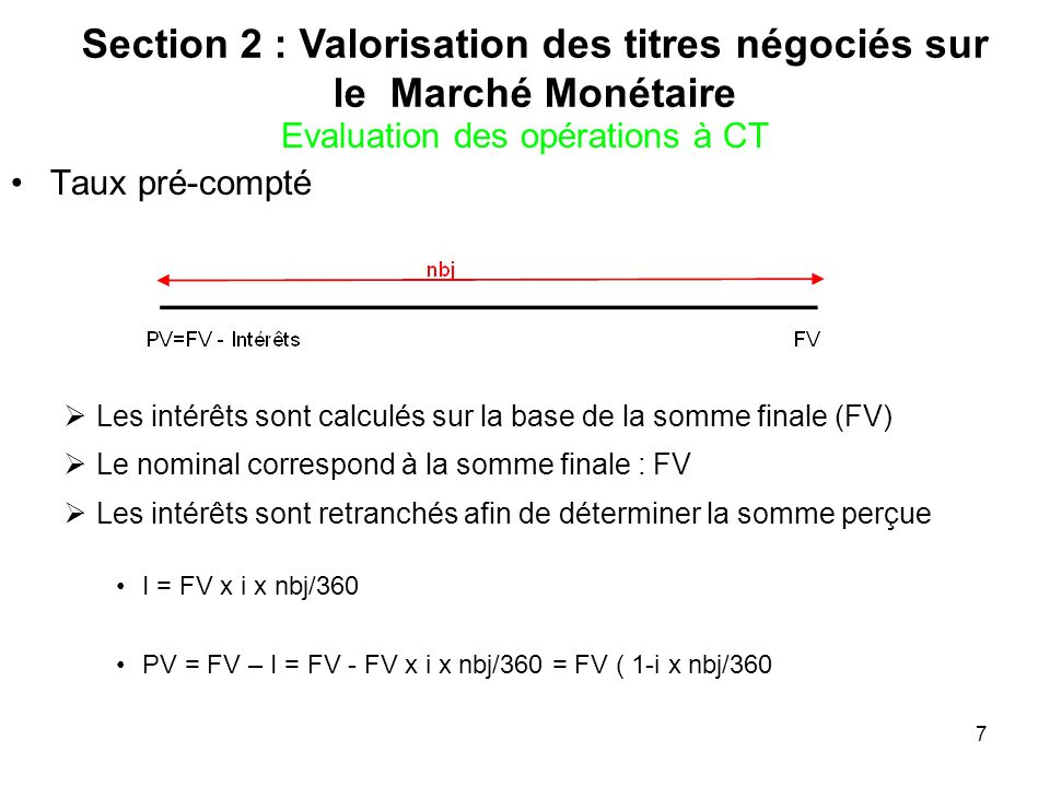Section 2 : Valorisation des titres négociés sur le Marché Monétaire