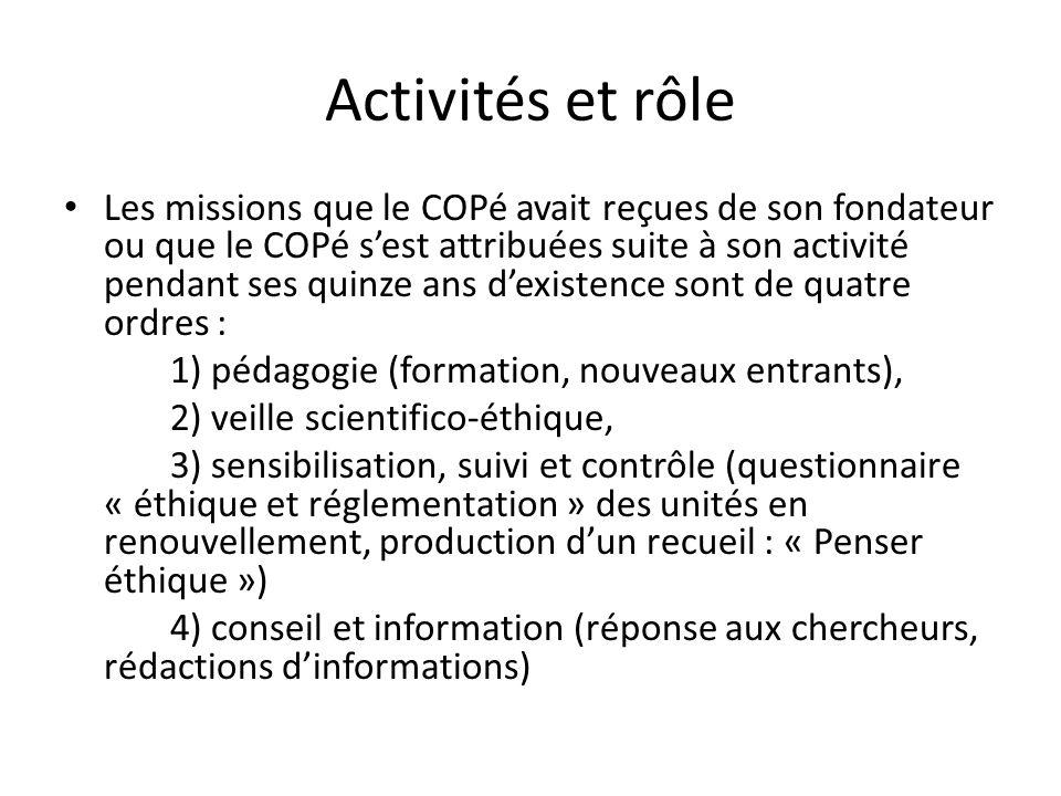 Activités et rôle
