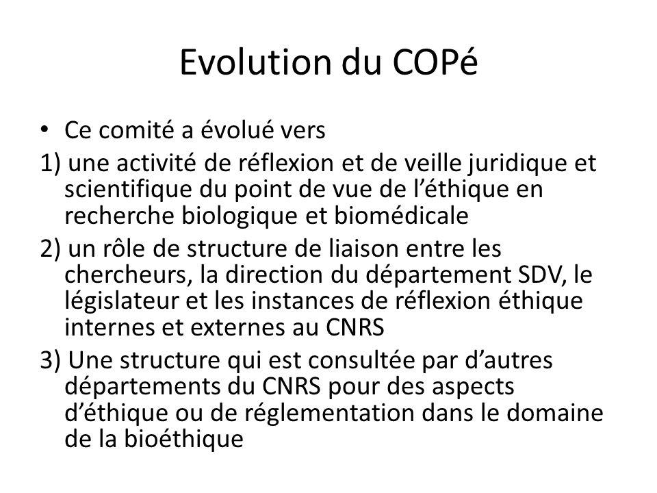 Evolution du COPé Ce comité a évolué vers