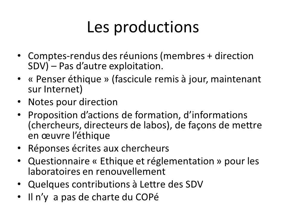 Les productions Comptes-rendus des réunions (membres + direction SDV) – Pas d'autre exploitation.