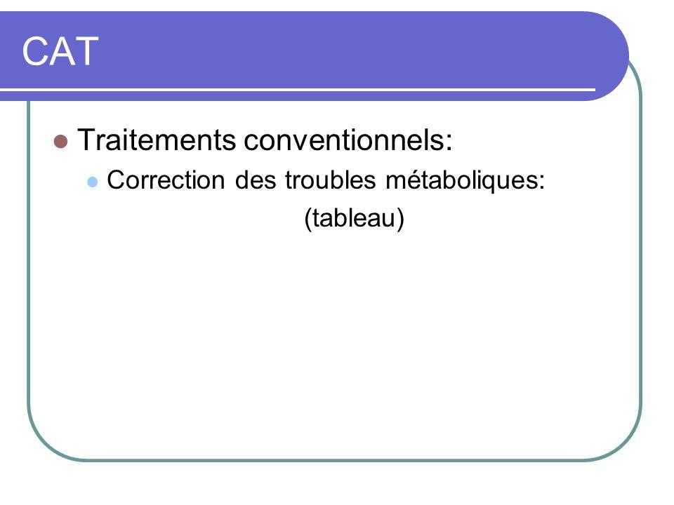 CAT Traitements conventionnels: Correction des troubles métaboliques: