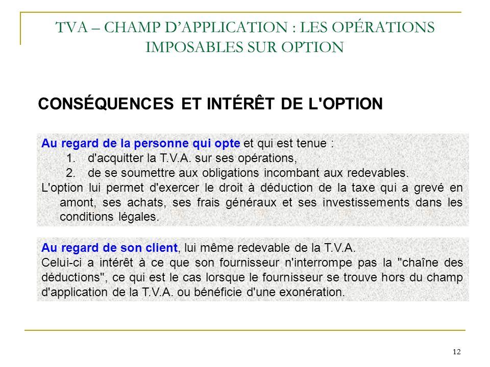 TVA – CHAMP D'APPLICATION : LES OPÉRATIONS IMPOSABLES SUR OPTION