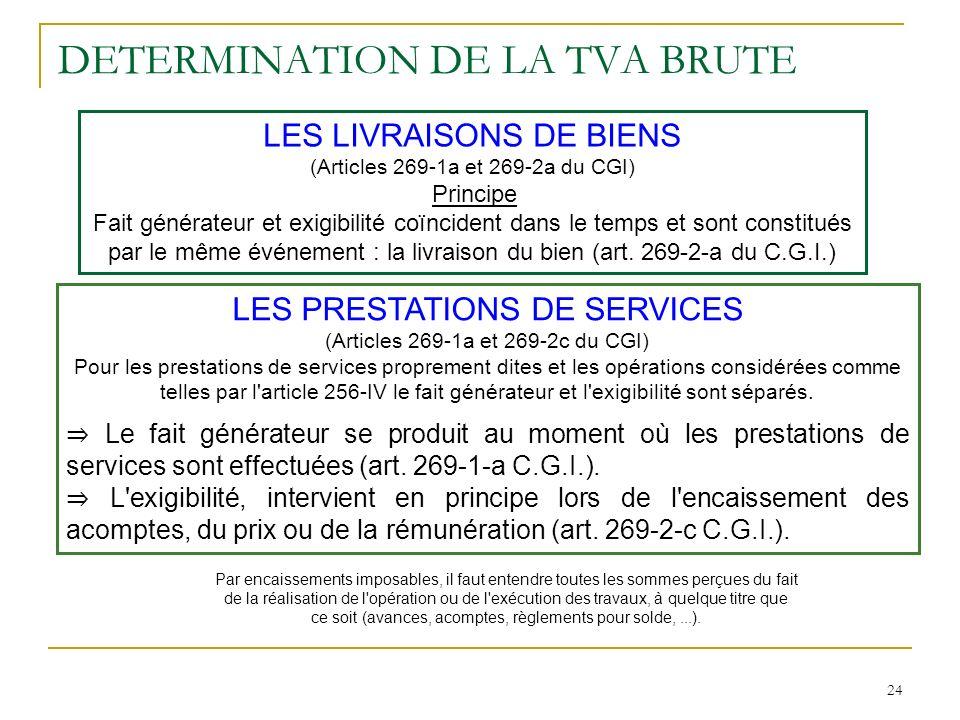 DETERMINATION DE LA TVA BRUTE