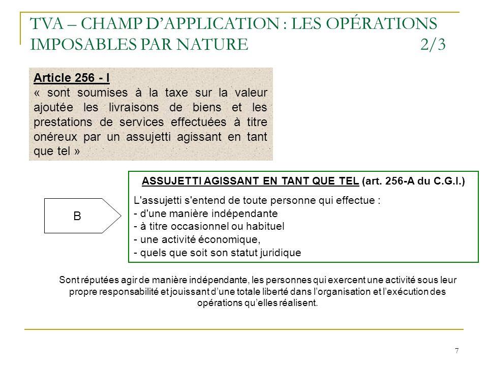ASSUJETTI AGISSANT EN TANT QUE TEL (art. 256-A du C.G.I.)
