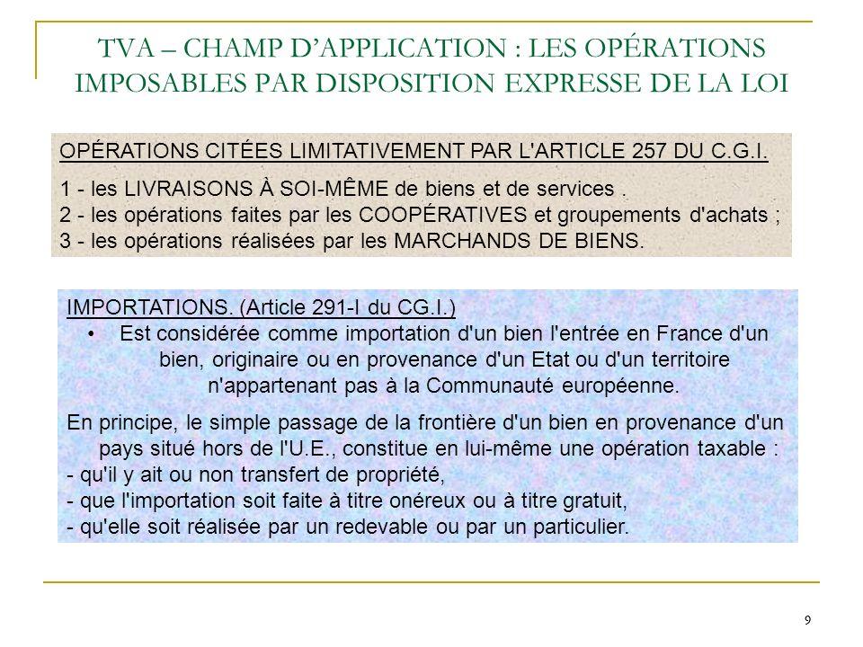 TVA – CHAMP D'APPLICATION : LES OPÉRATIONS IMPOSABLES PAR DISPOSITION EXPRESSE DE LA LOI
