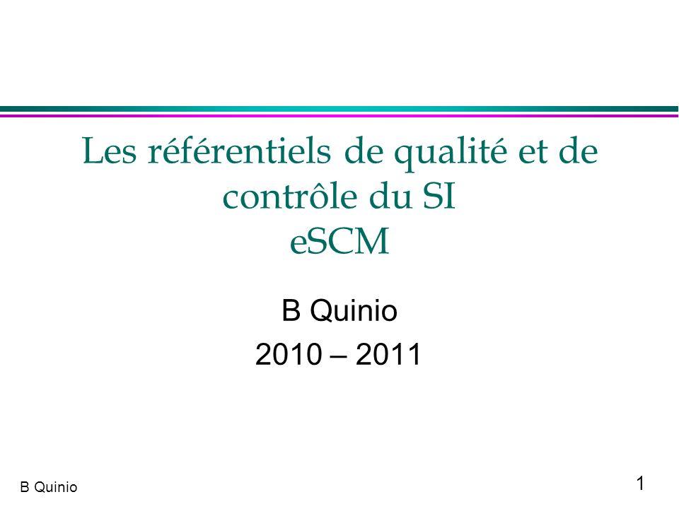 Les référentiels de qualité et de contrôle du SI eSCM
