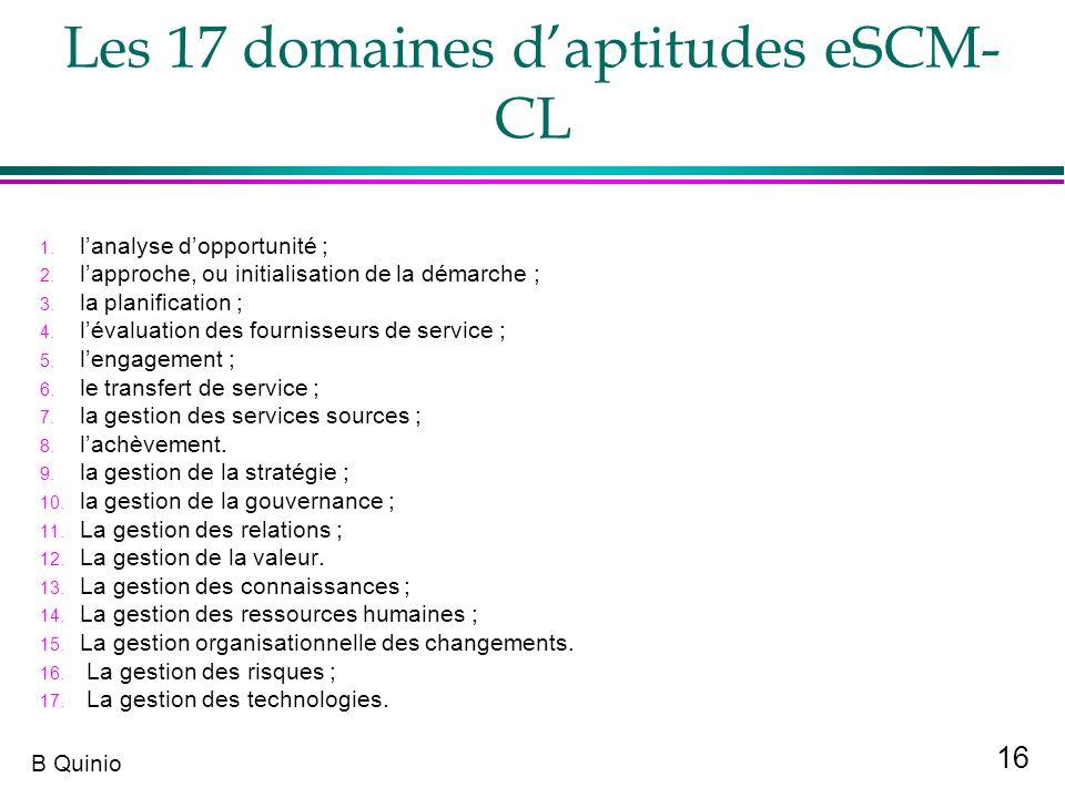 Les 17 domaines d'aptitudes eSCM-CL