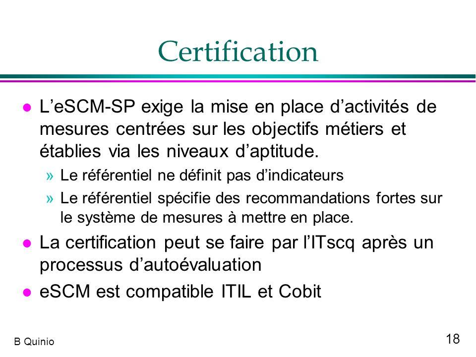 Certification L'eSCM-SP exige la mise en place d'activités de mesures centrées sur les objectifs métiers et établies via les niveaux d'aptitude.
