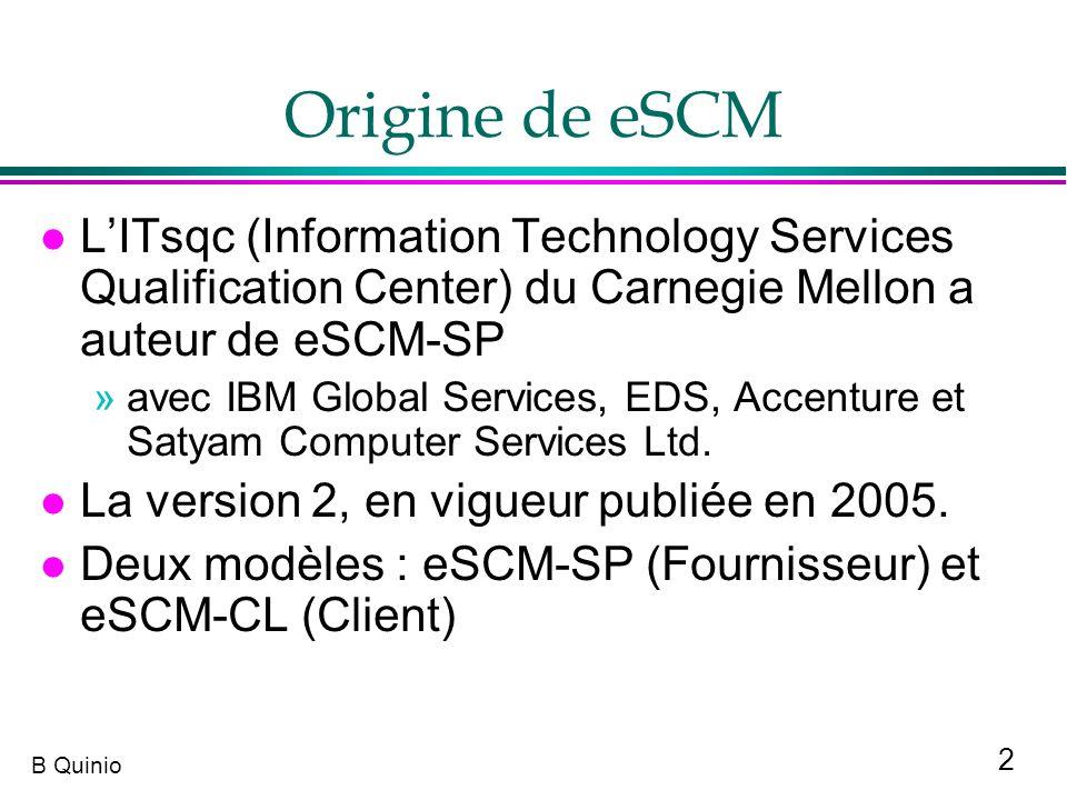 Origine de eSCML'ITsqc (Information Technology Services Qualification Center) du Carnegie Mellon a auteur de eSCM-SP.