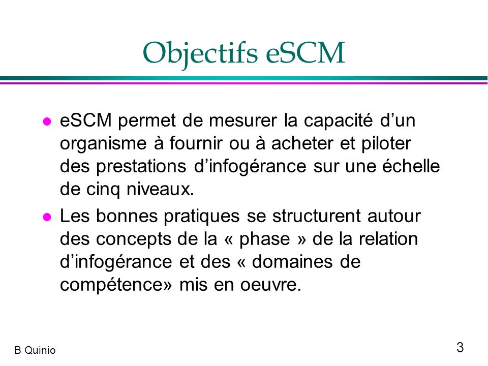 Objectifs eSCM