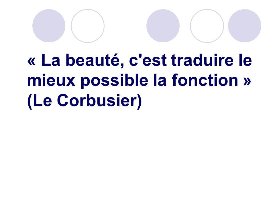 « La beauté, c est traduire le mieux possible la fonction » (Le Corbusier)