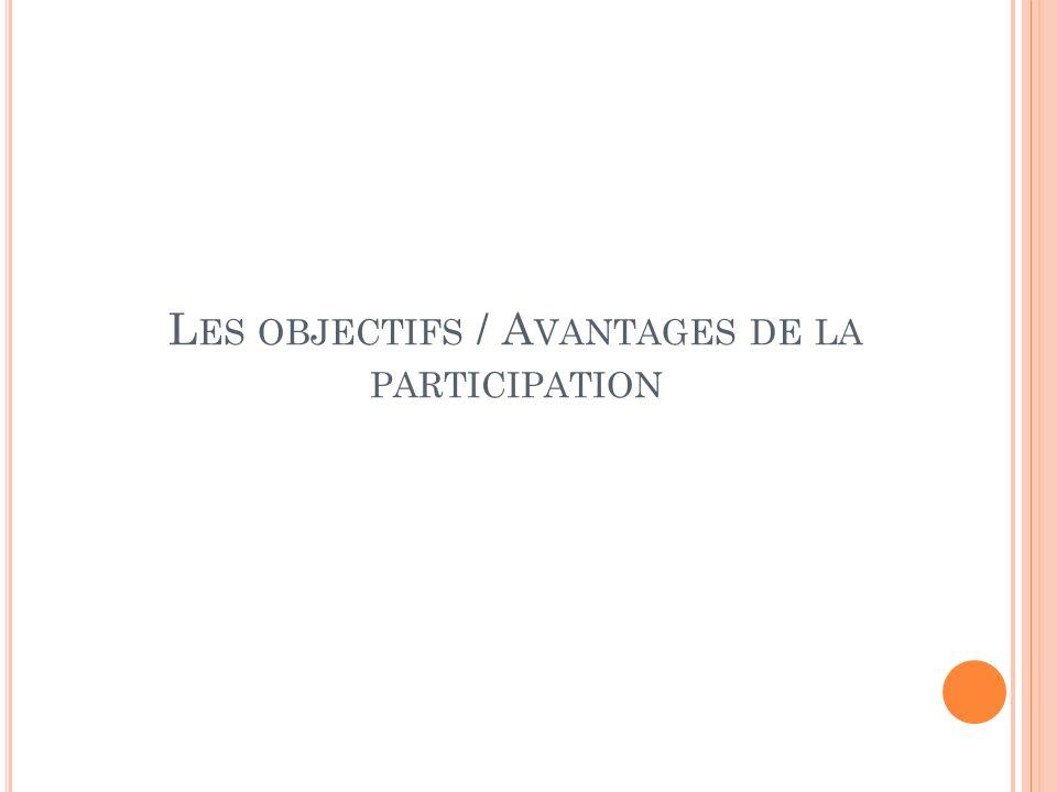 Les objectifs / Avantages de la participation