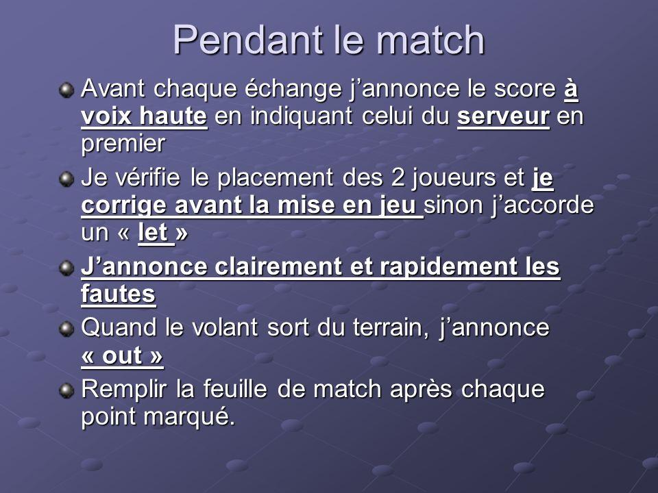Pendant le match Avant chaque échange j'annonce le score à voix haute en indiquant celui du serveur en premier.