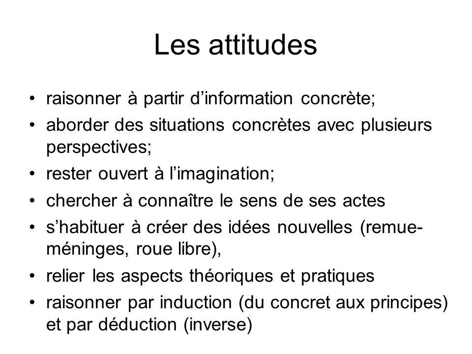 Les attitudes raisonner à partir d'information concrète;