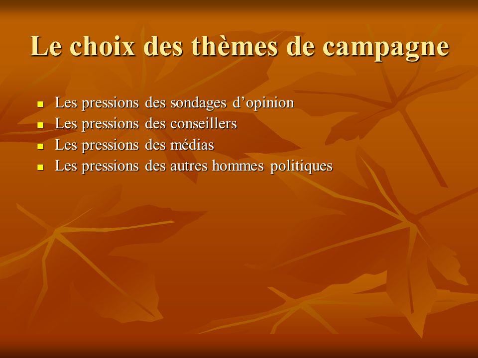 Le choix des thèmes de campagne