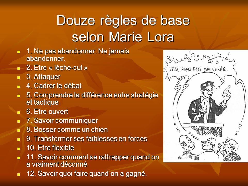 Douze règles de base selon Marie Lora