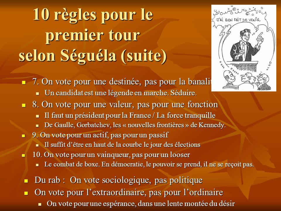 10 règles pour le premier tour selon Séguéla (suite)