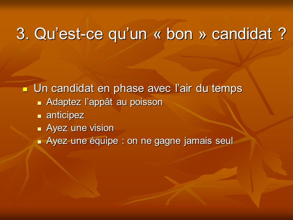 3. Qu'est-ce qu'un « bon » candidat