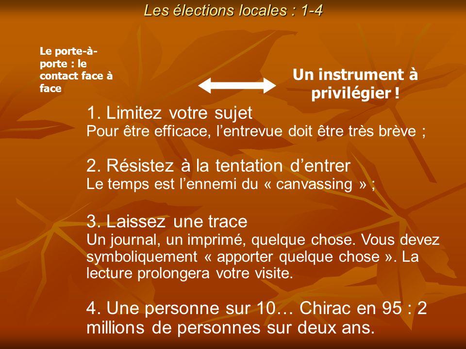 Les élections locales : 1-4