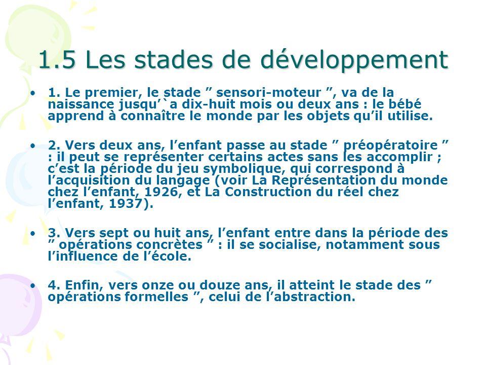 1.5 Les stades de développement