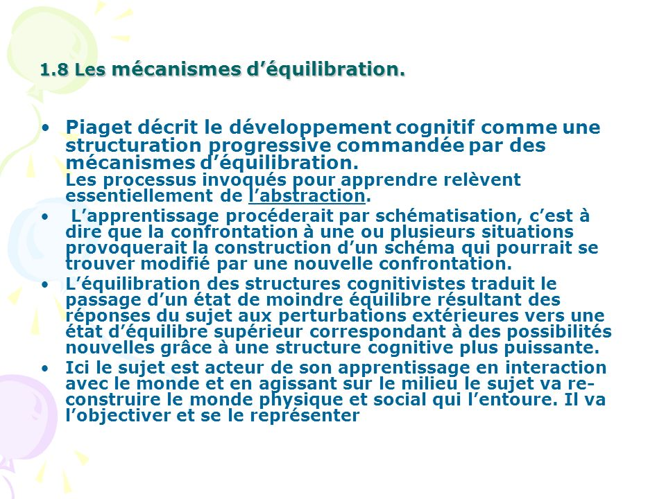 1.8 Les mécanismes d'équilibration.