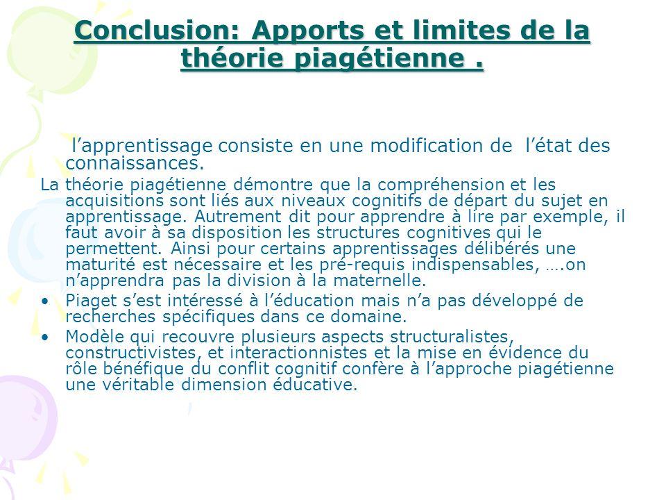 Conclusion: Apports et limites de la théorie piagétienne .