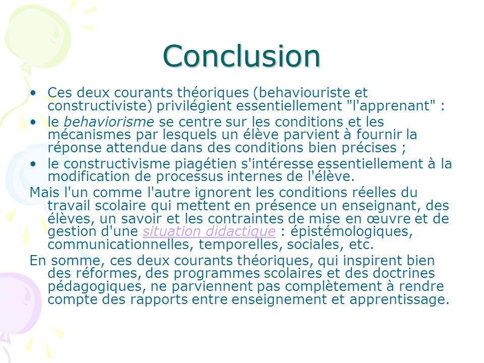 Conclusion Ces deux courants théoriques (behaviouriste et constructiviste) privilégient essentiellement l apprenant :