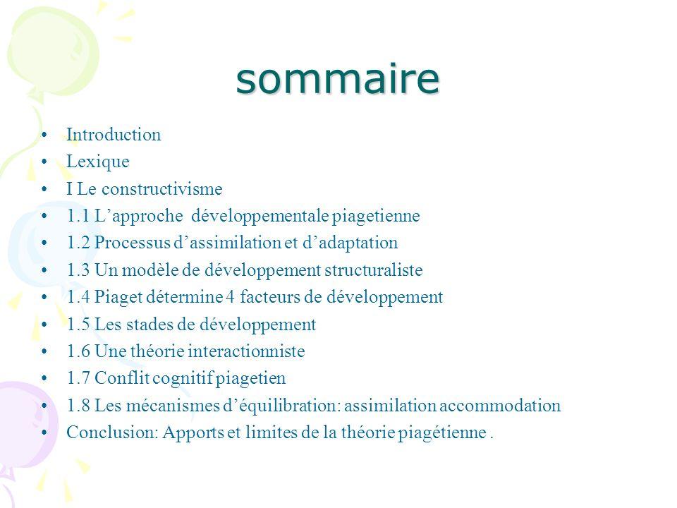 sommaire Introduction Lexique I Le constructivisme